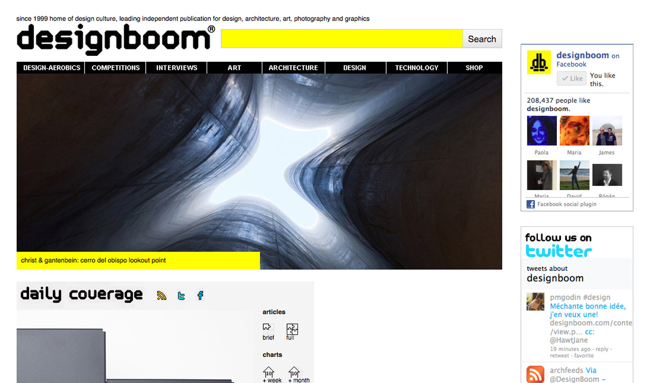 Screenshot of the designboom homepage, 10-10-2012