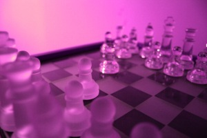 Black opening move in Fool's Mate game (edited photograph)