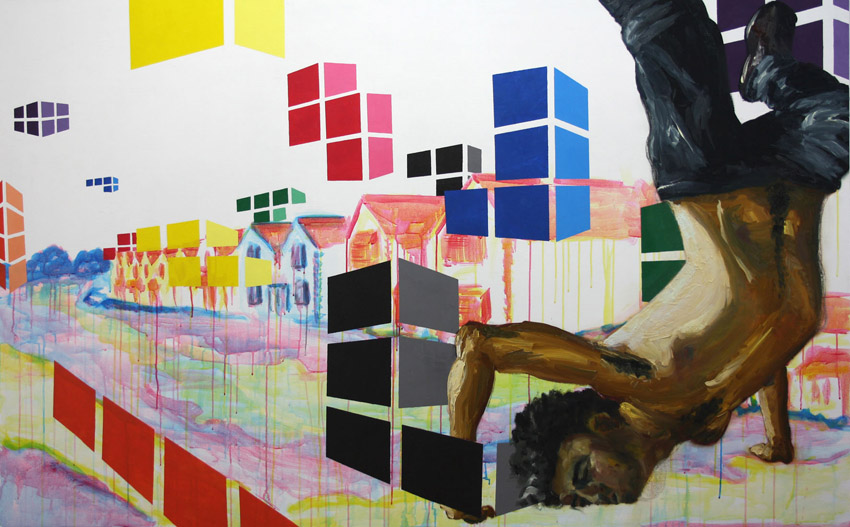 A painting of a man falling from the sky, with a discarded building site in the background and Tetris pieces falling all around the image.