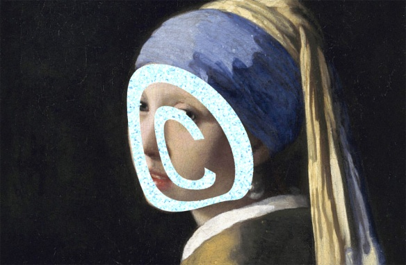 "Image of the Vermeer painting ""Girl With a Pearl Earring"" with a copyright symbol drawn over the face"