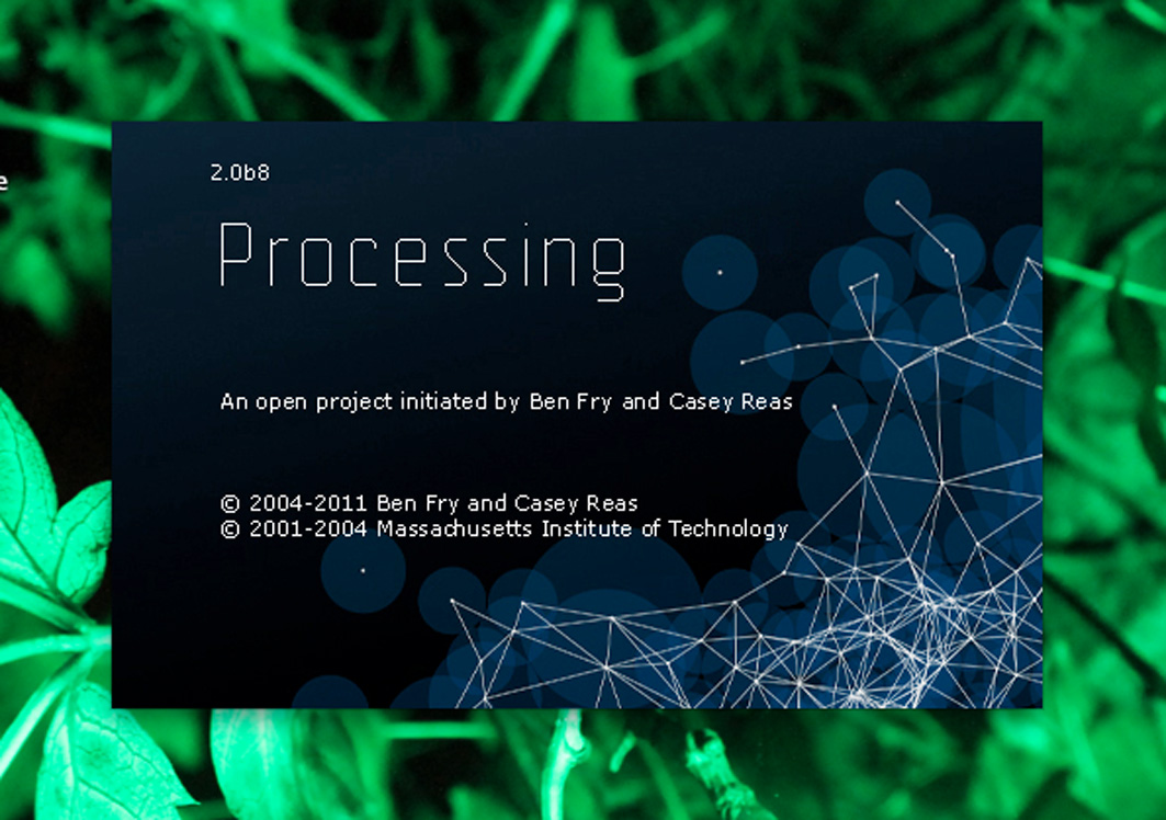 "Screen-shot of the ""about"" page from the open source program Processing"