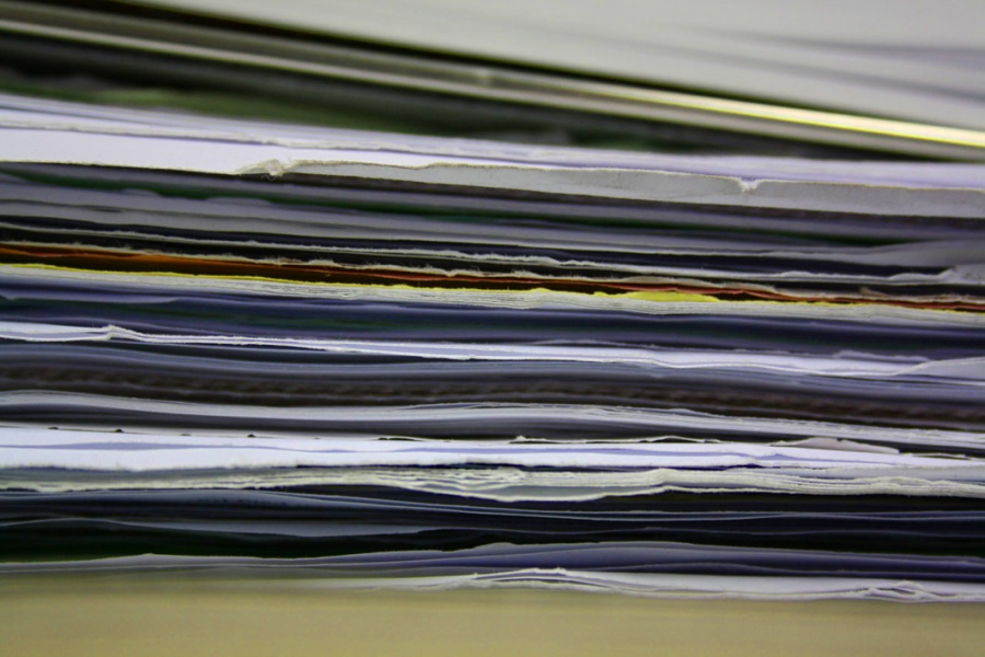Photograph of a stack of paper