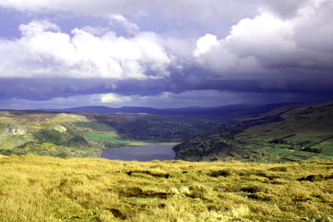 A photograph of Glencar valley from on top of King's mountain