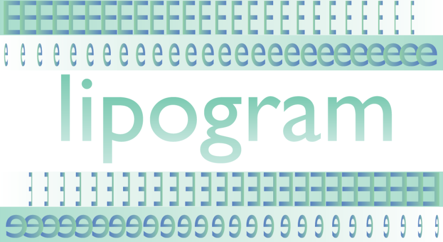 A graphic of the word lipogram surrounded by the letters E