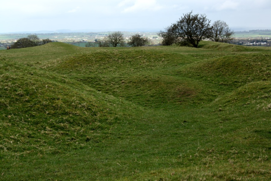 A photograph of the mounds visible at the Hill of Tara, Ireland