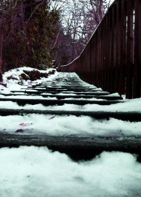 A series of steps covered in ice, representing the descent into an icy hell