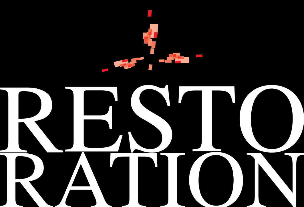 "A graphic showing the word ""restoration"" with a settled, symetrical aesthetic"